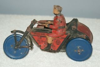 Tin Litho Marx Wind Up Indian Motorcycle And Side Car,  Very Old 1920