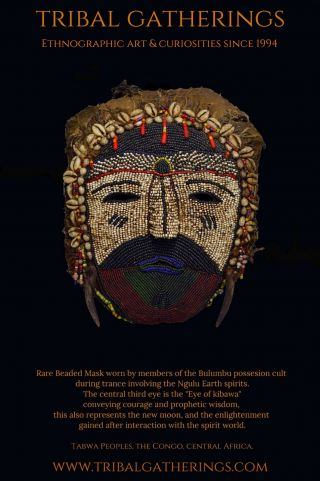 Exceedingly Rare Tabwa Beaded Possession Cult Mask,  African Art