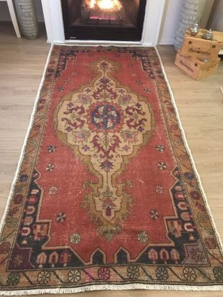 Vintage Oushak Wool Turkish Hand - Knotted Rug,  8