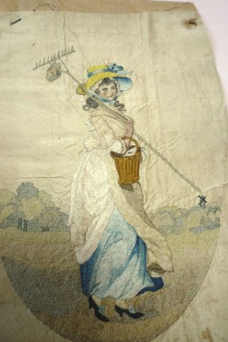 Antique Georgian Embroidered Silk Picture Lady With Rake Unframed Late 18th C