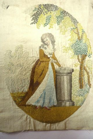 Antique Georgian Embroidered Silk Picture Lady In Garden Unframed Late 18th C
