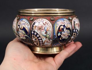 Antique Russian Moscow 88 Silver & Gilt,  Shaded Floral Enamel W/ Stones Bowl