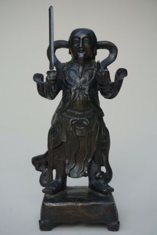 Antique Chinese Ming Bronze Standing Figure Of Zhenwu
