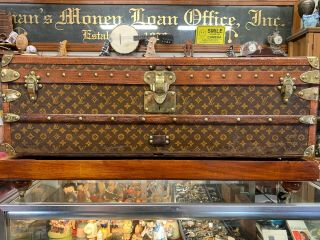 Vintage Large Louis Vuitton Woven Monogram Canvas Vintage Steamer Trunk Lv