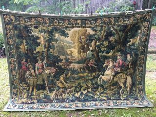 Large Vintage Aubusson Wool Tapestry