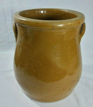 One Gallon Primitive Brown Floral Decorated WHITEWATER STONEWARE Jar Crock 4
