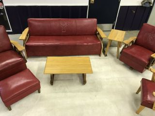 Vintage Western Cowboy Wagon Wheel Red Living Room Set,  Couch,  Tables & Chairs