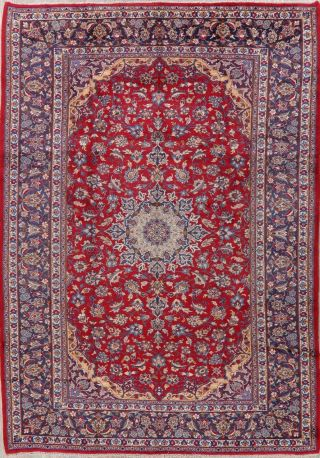 Traditional Vintage Floral Area Rug Hand - Knotted Oriental Vintage Carpet 8 X 12