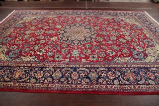 Vintage 9x12 Red Traditional Floral Najafabad Oriental Area Rug Hand - Knotted