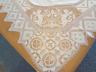 Vintage Hand Made Italian Needlework Reticella Figural Nymphs Tablecloth