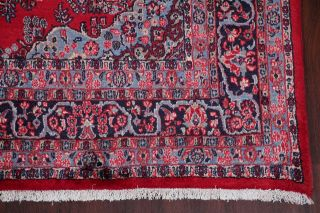 Vintage Hamedan Persian Area Rug 7x11 Hand - Knotted Oriental Wool Red Pink Floral