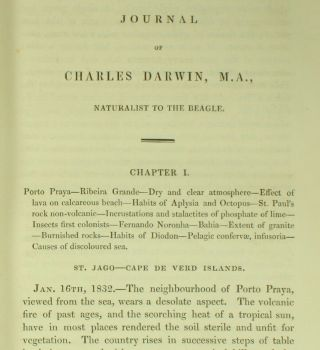 Darwin NARRATIVE SURVEYING VOYAGES ADVENTURE & BEAGLE 1839 Evolution 1ST ED NR 3