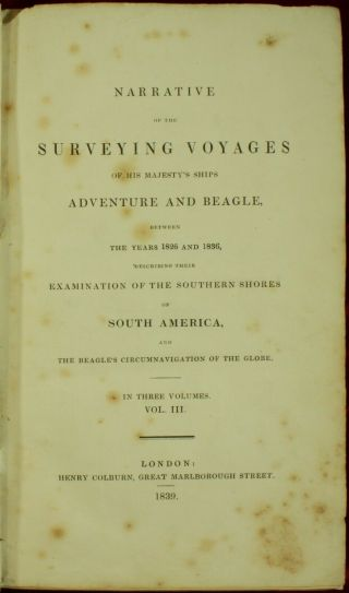 Darwin NARRATIVE SURVEYING VOYAGES ADVENTURE & BEAGLE 1839 Evolution 1ST ED NR 6