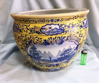 Chinese Yellow And Blue Ceramic Porcelain Fish Bowl Planter Antique Vintage Th?
