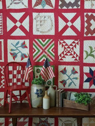 An American Treasure 1857 Antique Friendship Signature Sampler Quilt Endearing