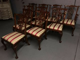 baker inlaid mahogany dining set table and 10 Chippendale chairs 10