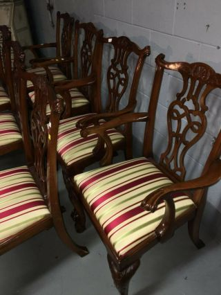 baker inlaid mahogany dining set table and 10 Chippendale chairs 7
