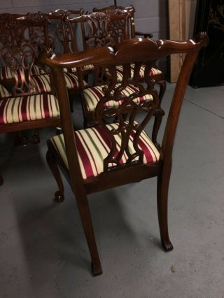 baker inlaid mahogany dining set table and 10 Chippendale chairs 9