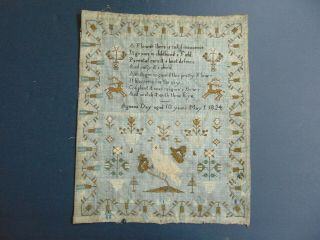 Antique Folk Art Schoolgirl Sampler By Agness Day Aged 10 Years May 1,  1824