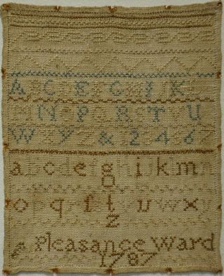 Very Small Late 18th Century Alphabet Sampler By Pleasance Ward - 1787
