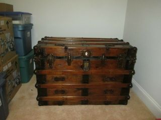 Antique Steamer Trunk Flat Top Stained Wood