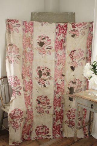 18th Century French Antique Fabric Timeworn Floral Picotage