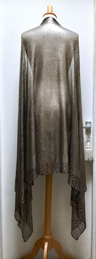 Antique Egyptian Black And Silver Assuit Shawl.  Wide And Heavy.  Art Deco