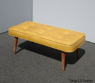 Vintage Mid Century Modern Gold Tufted Two Seater Bench Stool W Peg Legs