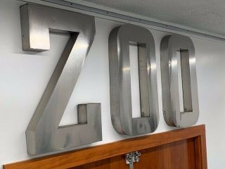 "Antique Stainless Steel "" Zoo "" Sign: Letters Are 30 Inches High X 17 Inches Wide"