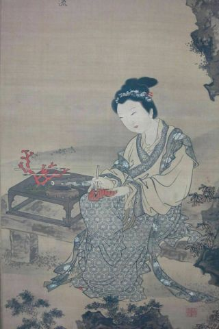 """Rare Very Large Old Chinese Scroll Hand Painting Woman With """" Tangyin """" Marks"""