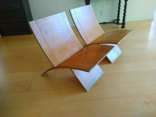 Mid Century Modern Curved Wood Chair (pair)