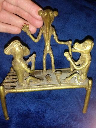 Rare - Complex Old African Akan Gold Weight Brass - Mythology Scene On Table Bed