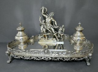 Extraordinary Large 3.  5kg Heavy Marked Spanish Solid Silver Laocoon Inkstand