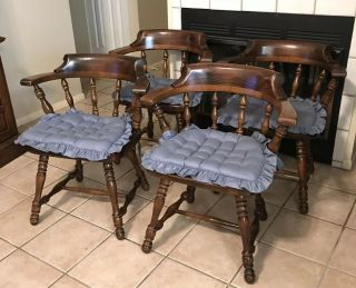 4 Ethan Allen Old Tavern Pine Chair Set Dining Room Table Side Wood Chairs Usa