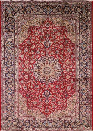 Vintage 9x13 Red Traditional Floral Najafabad Area Rug Oriental Hand - Knotted