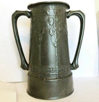 Antique Tudric Archibald Knox / Liberty Pewter Loving Cup For Old Times Sake