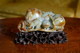 Large Antique Chinese Carved Russet Jade Figural Group Of Peaches Hongmu Stand