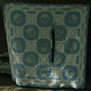 """Baskets Of Roses Vintage Quilt Hand Stitched Cotton Fabric Cutter 83 """" X 83 """""""