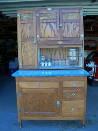 Antique Oak Hoosier Cabinet Sellers Brand