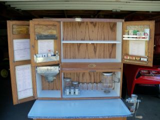 Antique Oak Hoosier Cabinet Sellers Brand 4