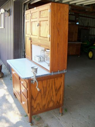Antique Oak Hoosier Cabinet Sellers Brand 7