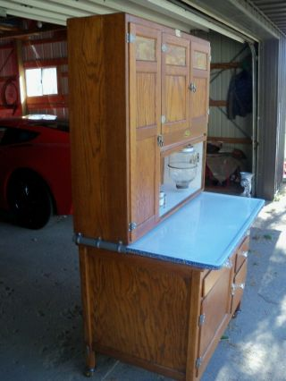 Antique Oak Hoosier Cabinet Sellers Brand 8
