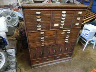 Fantastic C.  1900 Tiger Oak Stack File Cabinet 36 Drawer