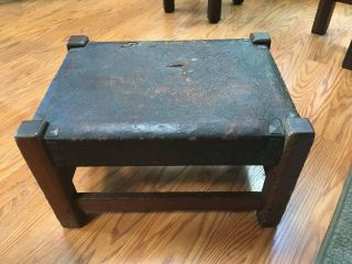 Gustav Stickley,  Footstool,  1912 - 1918,  Signed All Tacks & Leather
