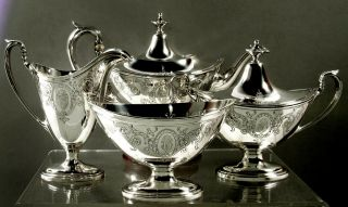 Gorham Sterling Tea Set 1919 Hand Decorated - Neoclassical