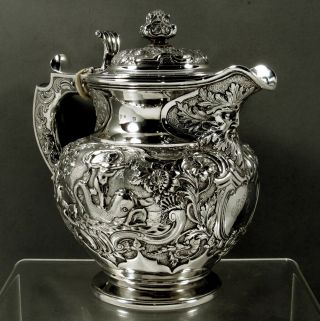 Scottish Sterling Coffee Pot 1827 Neptune & Serpent