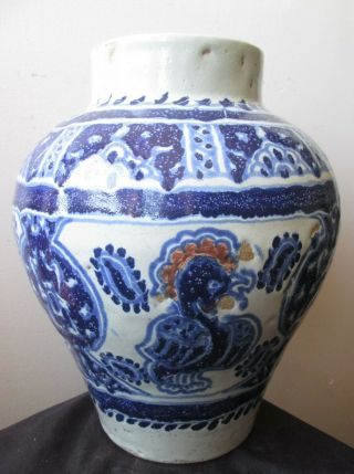 Antique Signed Enrique Ventosa Large Art Pottery Puebla Jar Vase W Birds