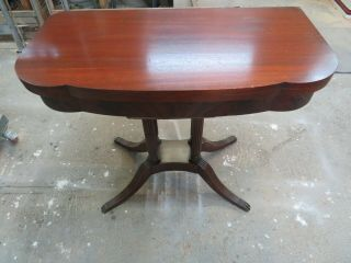 Antique Duncan Phyfe Style Mahogany Swivel Flip Top Card Game Table