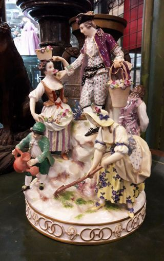 Antique Meissen Porcelain Group,  Medieval Scene