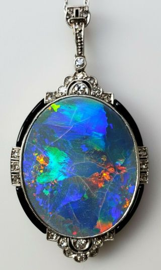 Antique Art - Deco Natural Opal & Diamond Platinum 14k White Gold Pendant Necklace